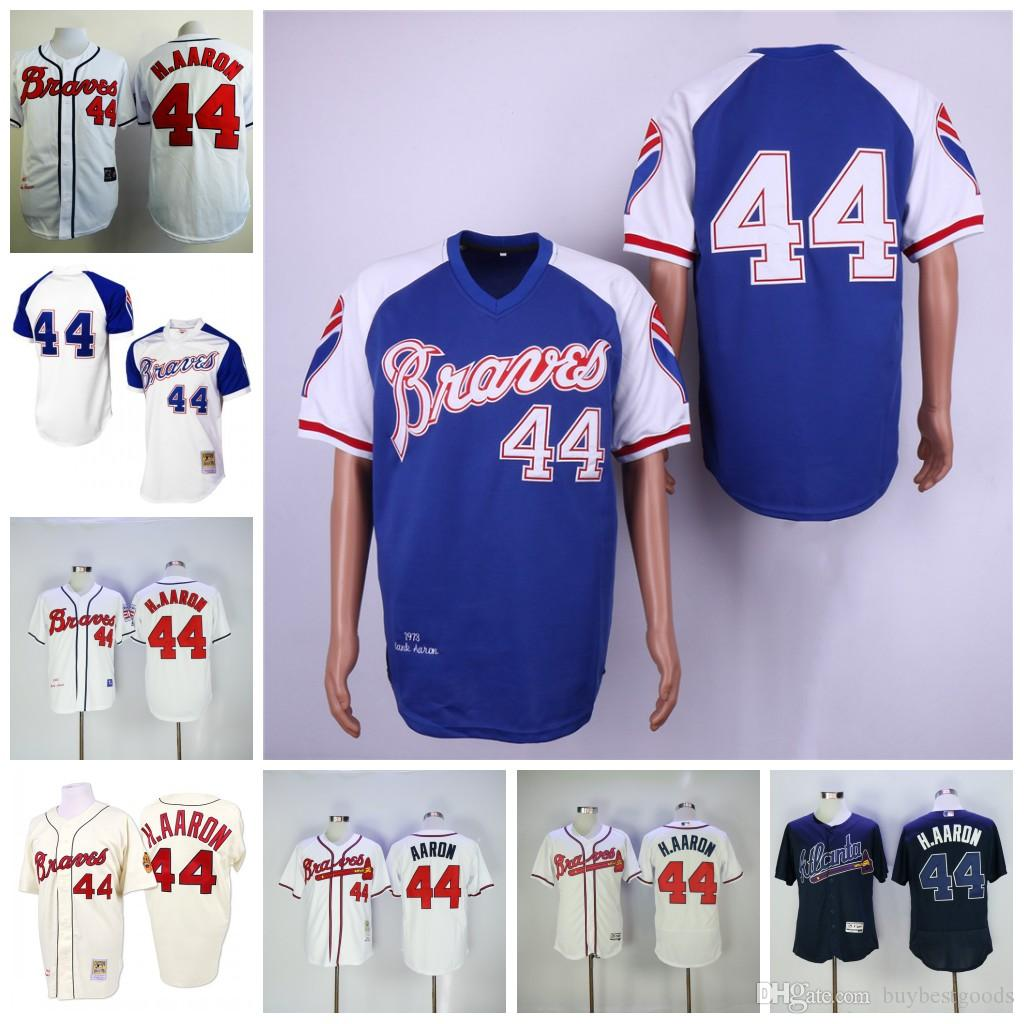 the best attitude 57b87 a139e Hank Aaron Jersey Atlanta Braves 1974 1957 1963 M&N with 715 Patch Jerseys  Stitched