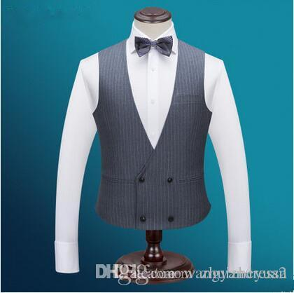 New double breasted cheap gray stripe groom vests mens suit for wedding slim fit groomsmen vest custom made wedding suits
