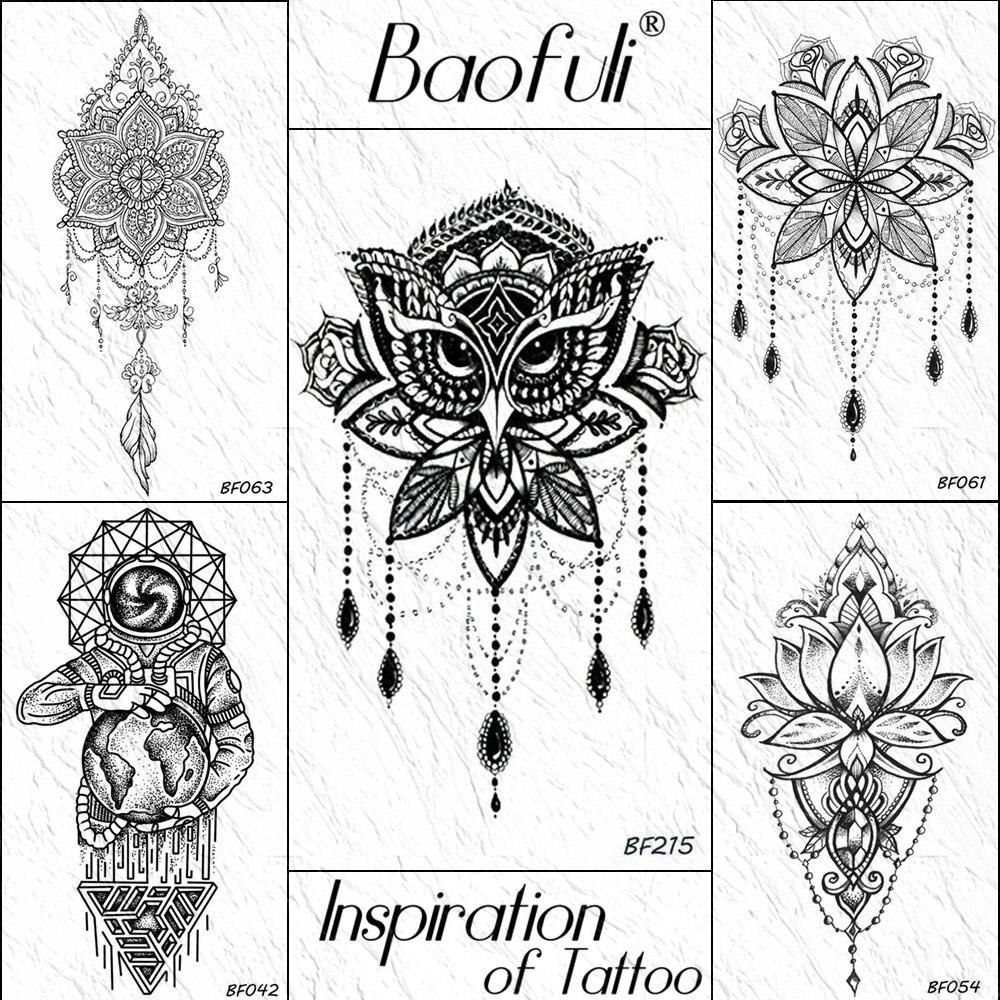 Baofuli Black Henna Owl Geometric Mandala Flower Temporary Tattoo