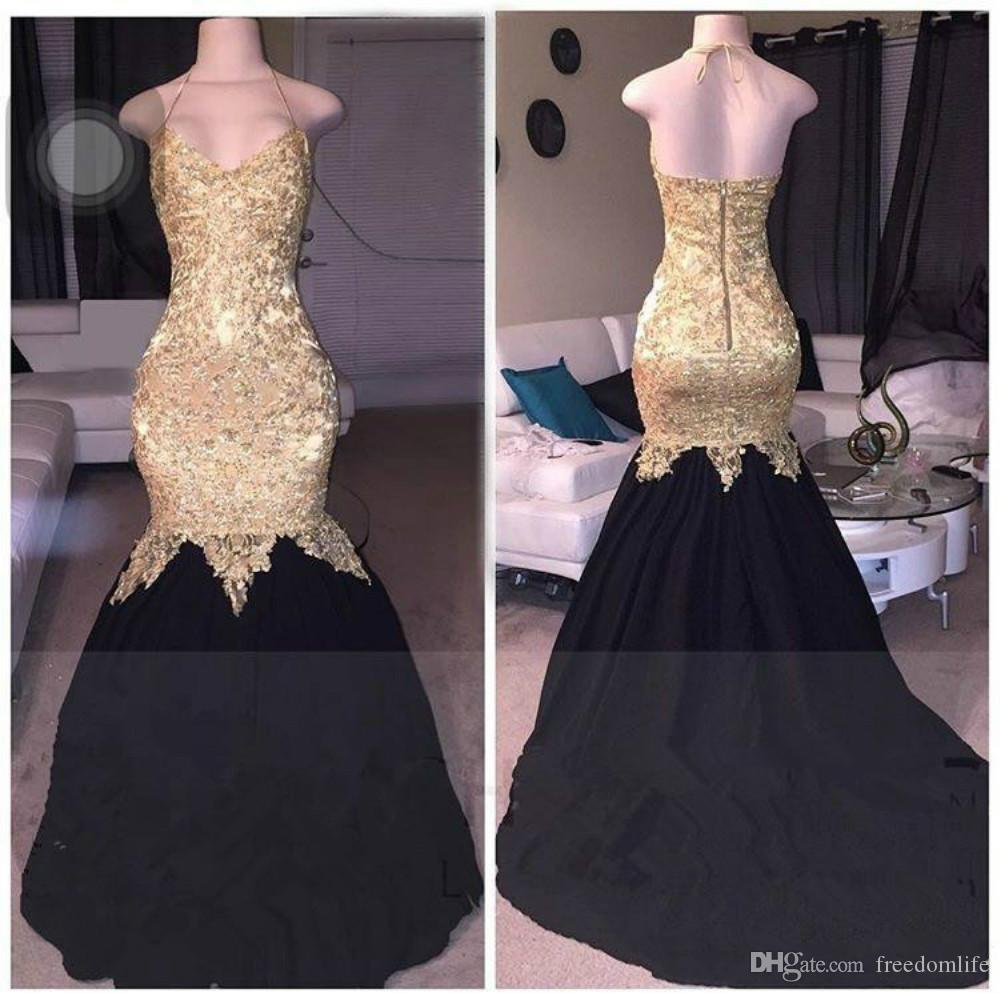 d80f08ed2f0 Charming Gold And Black Mermaid Prom Dresses Long Halter Sleeveless African  Evening Vestido De Noche Lace Applique Formal Long Party Gowns Full Length  Prom ...
