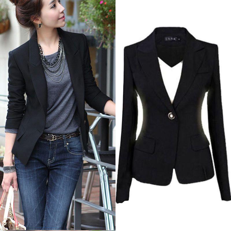 Mode Nouvelles Femmes Blazer Veste Costume Casual Manteau Noir Seul Bouton Mince Vêtements D extérieur Femme Blaser Feminino Femme S 3xl