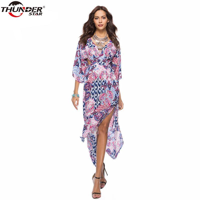 925b12d03065 2019 Vintage Dress 2018 Summer Deep V Neck Boho Maxi Dress Sexy Backless  Beach Loose Bohemian Prints Dresses From Luiyer