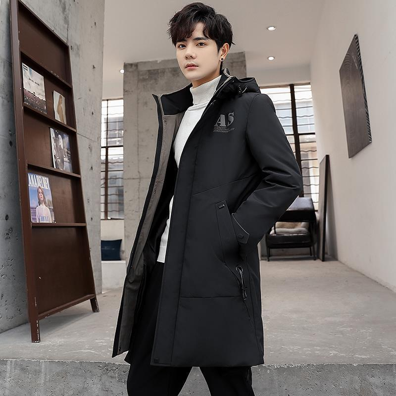 Down Jacket Men's Winter New Style Men's White Duck down Jacket Wear Mid-length Korean-style Hooded Thick Warm Coat