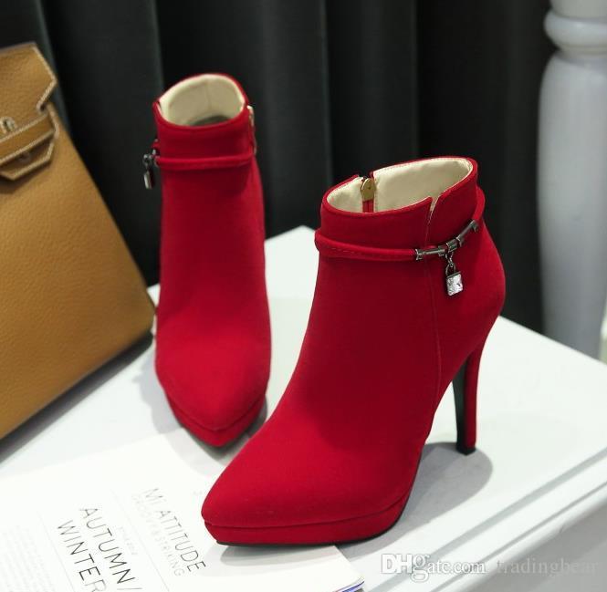 boyut 32 33-43 gelinlik botları kırmızı süet ayak bileği patik kış kadın tasarımcı bot platformu yüksek topuklu