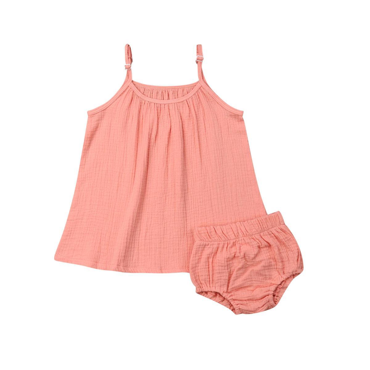 Bebek Çocuk Kız bebekler Düz renk Kolsuz Uzun + Mini Şort 2adet Kıyafetler Yaz Casual Çocuk Giyim Tops
