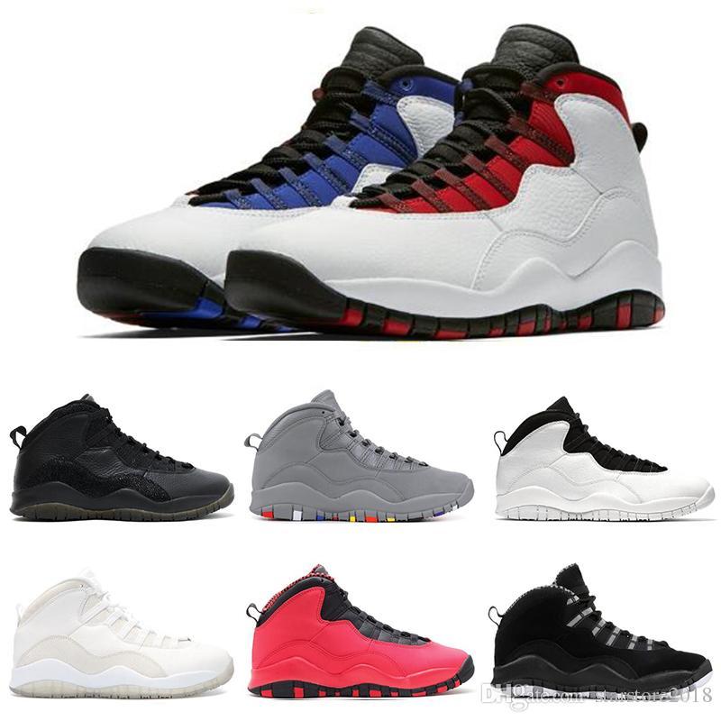 timeless design 4daee 25a1d Nike air jordan 10 10s Top fashion 10 10s Cement Chicago Bobcats hommes  chaussures de basket-ball thinker-Racer Blue mens Sneakers de sport  formateurs ...
