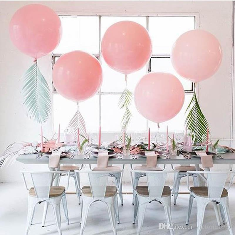 Giant White /pink Round Balloons 36 inch Wedding Macaron Baloes Arch Backdrop Photography Decoration party birthday decor wedding supply