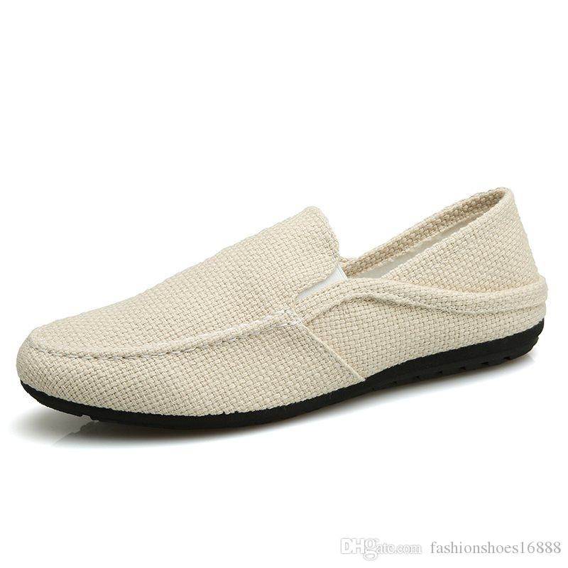 be5e3277b3 Vintage Men s Casual Canvas Loafers Flat Hemp Bottom Espadrilles Driving  Soft Shoes for Holiday Beach Sailing Bohemian Style Slip-on Men