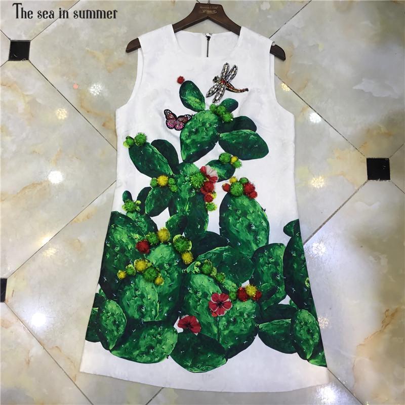 72d2ff34e397 The Sea In Summer 2019 Summer Designer Robe Femme Ete Women S Sleeveless  Green Diamond Fuzzy Balls Embossed Tank Short Dress Lace Summer Dress  Dresses ...