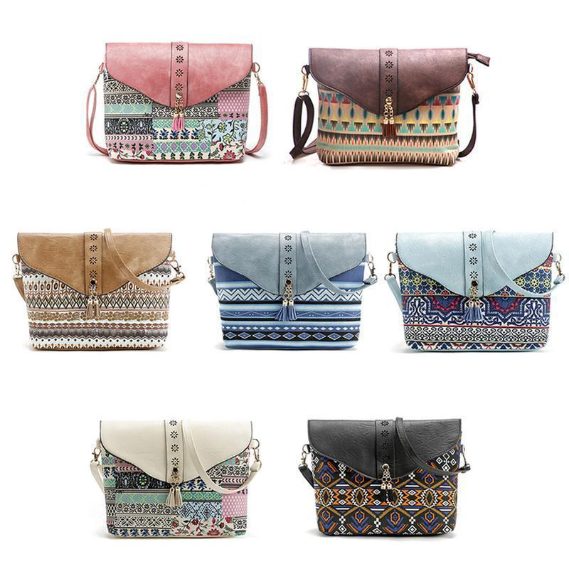 58a976f6c6 Ethnic Style Print Crossbody Bag For Women Girl Geometric Pattern Single  Shoulder Tassel Hand Bags Handbag Mini Small Square Bag Ladies Purse  Leather ...