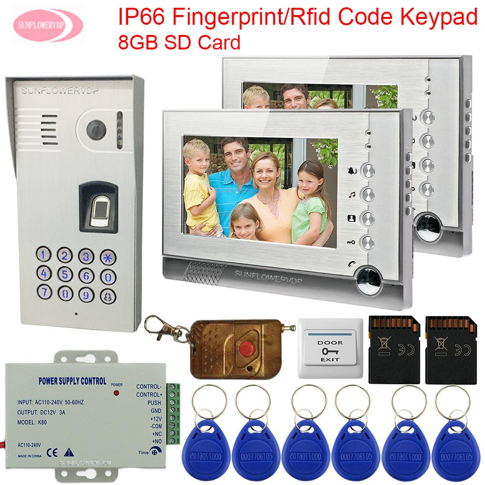 Video Intercom With Recording IP66 Waterproof outdoor intercom Fingerprint  Rfid Keypad For a Private House 8GB SD Card