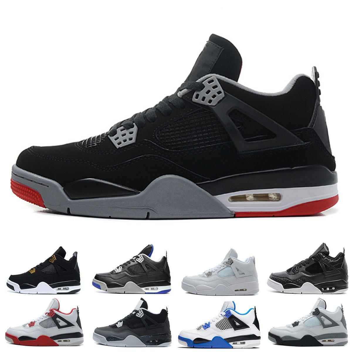 Cheap 4 4s men basketball shoes sneakers bred Fire Red Military Blue Pure Money Toro Bravo oreo Black Cat Sports Outdoor shoes