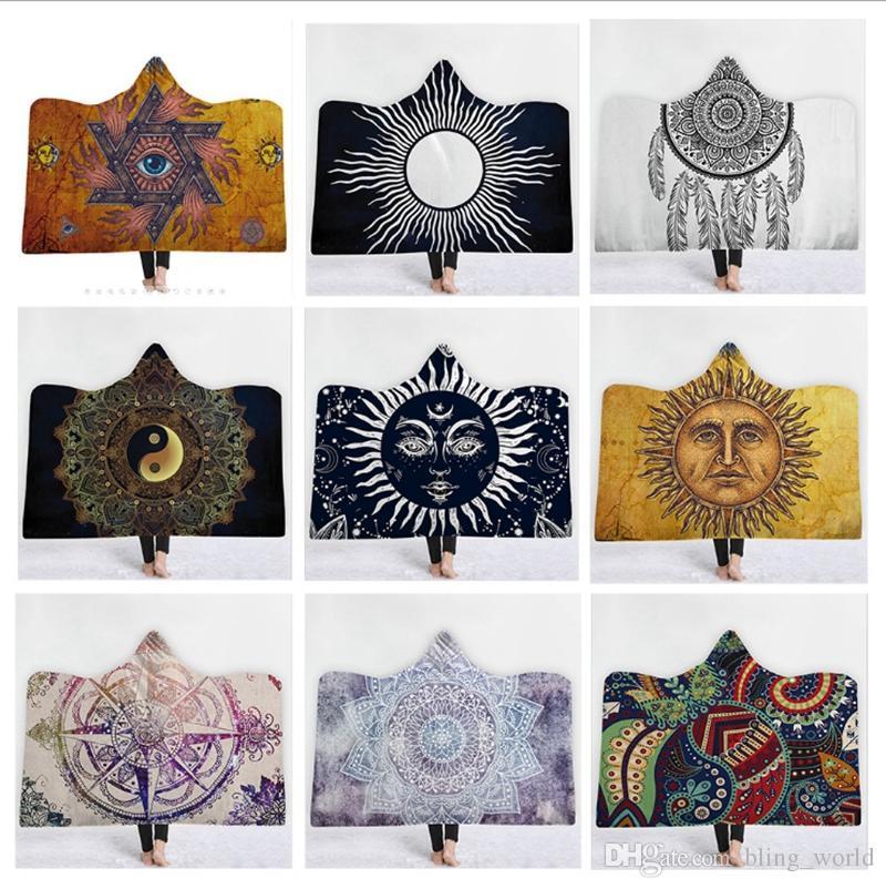 c8cc954206 Compre Mandala Con Capucha Manta Religión Mantas De Tiro Floral Sherpa  Fleece Mantas Sofá Saco De Dormir De Navidad Regalo De Los Niños 24 Diseños  YW1821 A ...