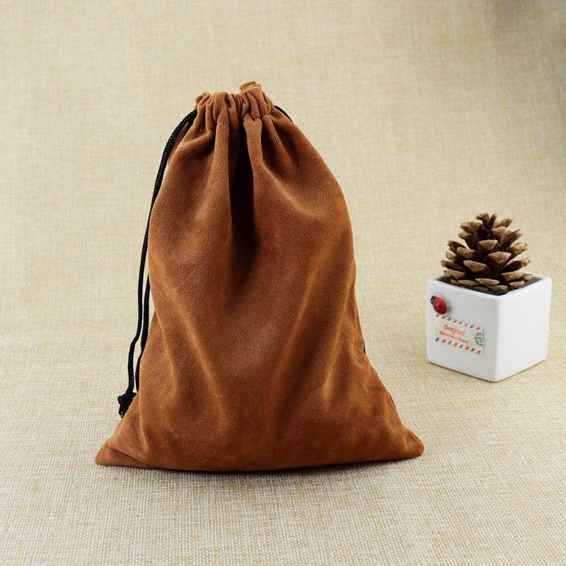 10 adet / grup 15x20 cm Kahve Kadife Çanta Büyük Takı Çantası Sevimli İzle Bilezik Takı Ambalaj Çanta Düğün İpli kılıfı Hediye Çantası