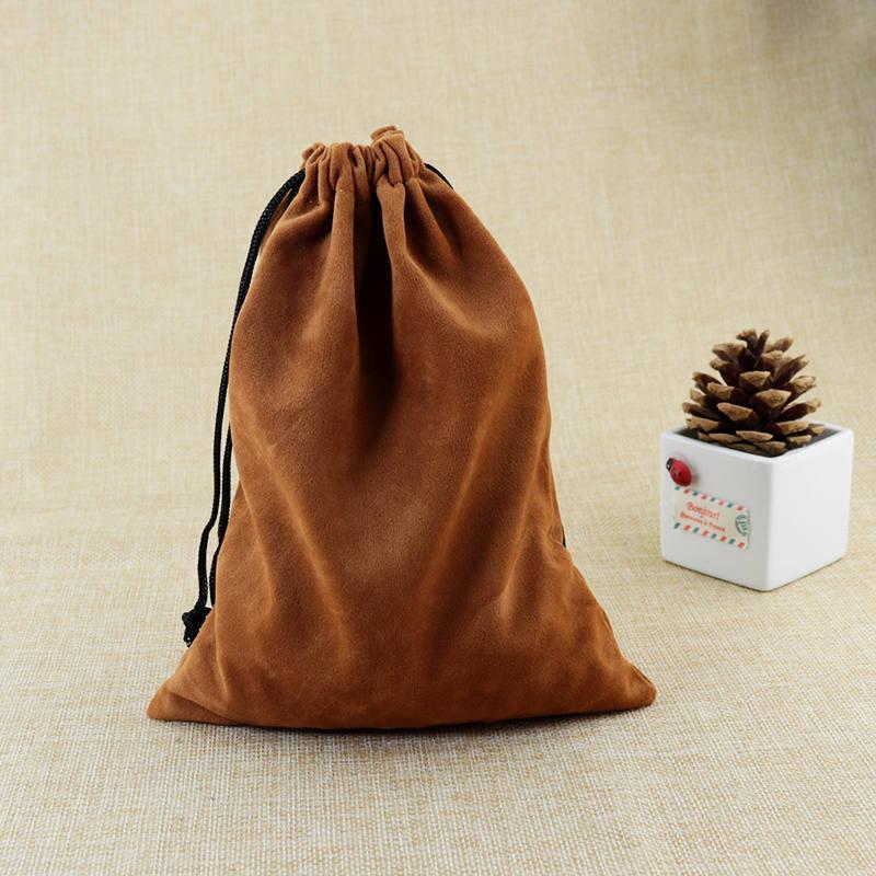 15x20cm Coffee Velvet Bag Big Jewelry Bag Cute Watch Bracelet Jewelry Packaging Bags Wedding Drawstring Pouch Gift Bag