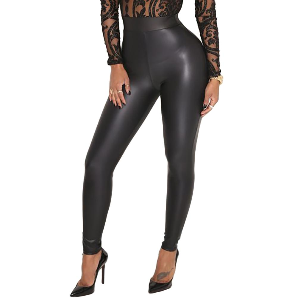 Sexy Women Pu Faux Leather Leggings Wet Look Stretchy Push Up Leggings Elastic Waist High Rise Skinny Pants Trousers Jeggings 19ss