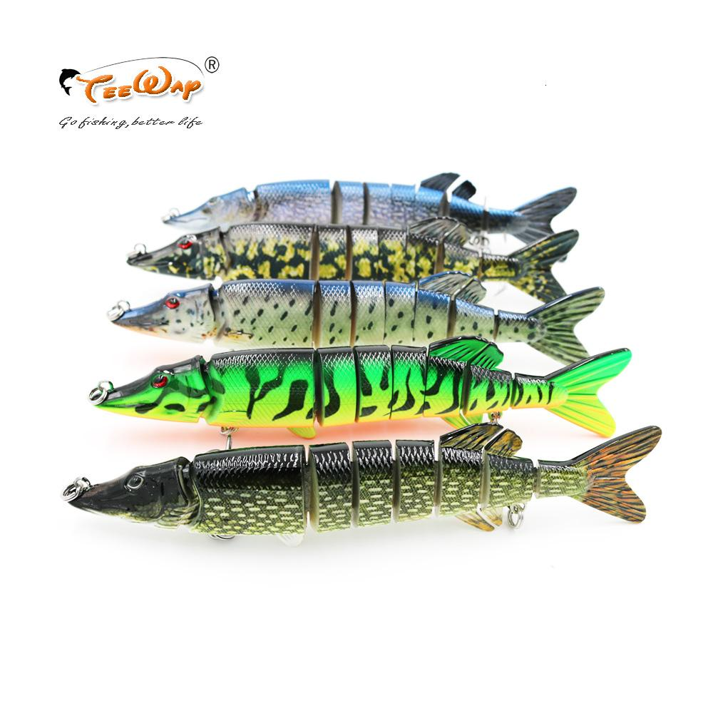 20cm 66g Lifelike Pike Muskie Fishing Lure 8-segement Swimbait Crankbait Pesca Hard Fishing Bait Treble Hook Fishing Tackle T191017