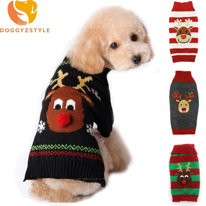 Christmas Sweaters For Dogs.Xmas Pet Dog Clothes Reindeer Design Sweater For Small Dogs Christmas Warm Puppy Coat Chihuahua Knitwear Pullover Elk Costumes