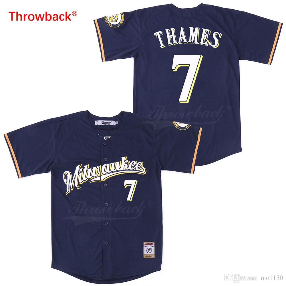competitive price 09476 812f4 Throwback Men s Milwaukee Thames Jerseys Baseball Jersey Stiched Size  S-XXXL Fast Shipping Color Dark Blue Cheap