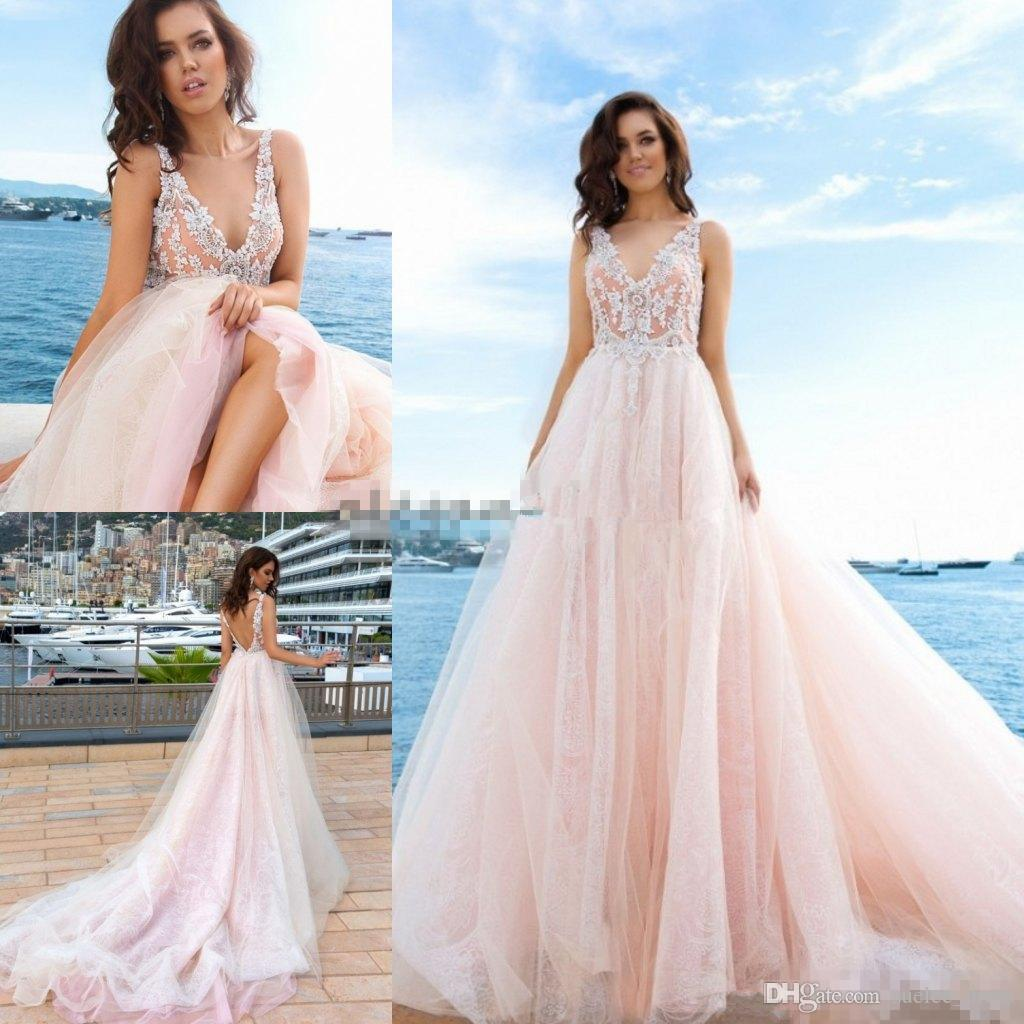 Blush Pink Wedding Gowns: Blush Pink Beach Wedding Dresses A Line Sexy Deep V Neck