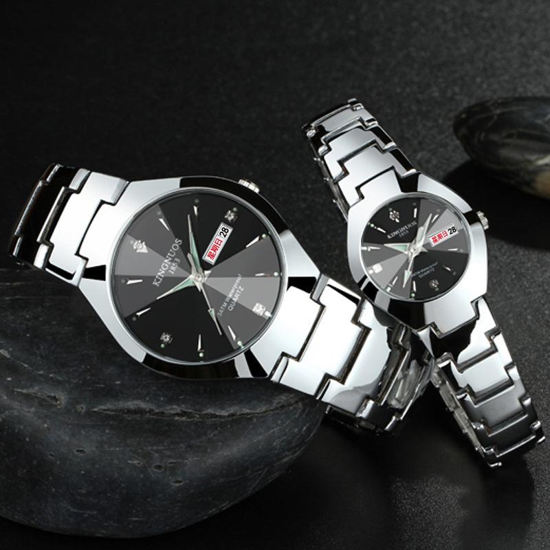 Man WristWatch Noctilucent WristWatch Tungsten Steel Farbe Waterproof Ma'am Lovers Armbanduhr Male Calendar Quarzuhr