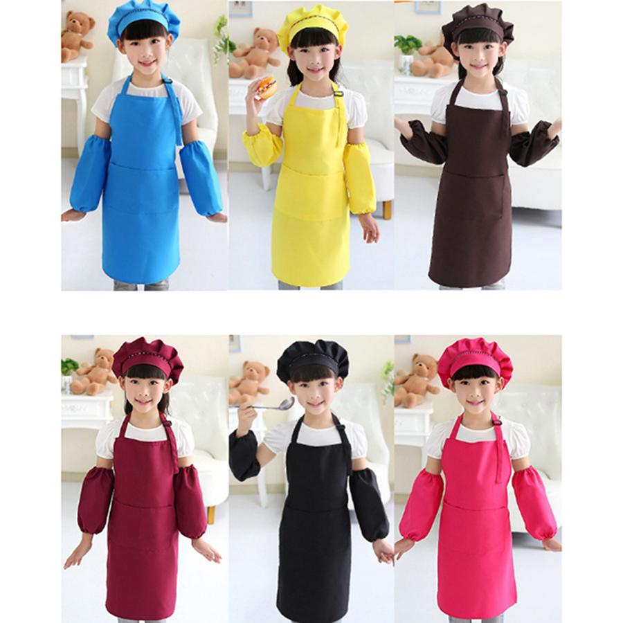 Kids Aprons Pocket Craft Cooking Baking Art Painting Kids Kitchen Dining Bib Children Aprons with hat and sleeves Kids Aprons Set RRA2083