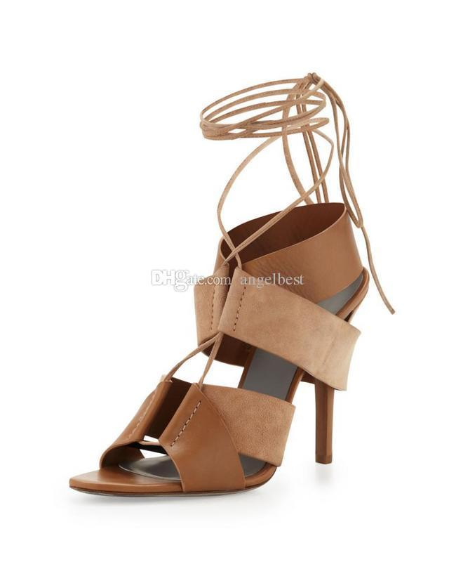 19c198418f6a Summer Style Rome Lace Up Sandals Sexy Cut Outs High Heels Shoes Woman Black  Nude Gladiator Sandals White Shoes Silver Sandals From Ado525