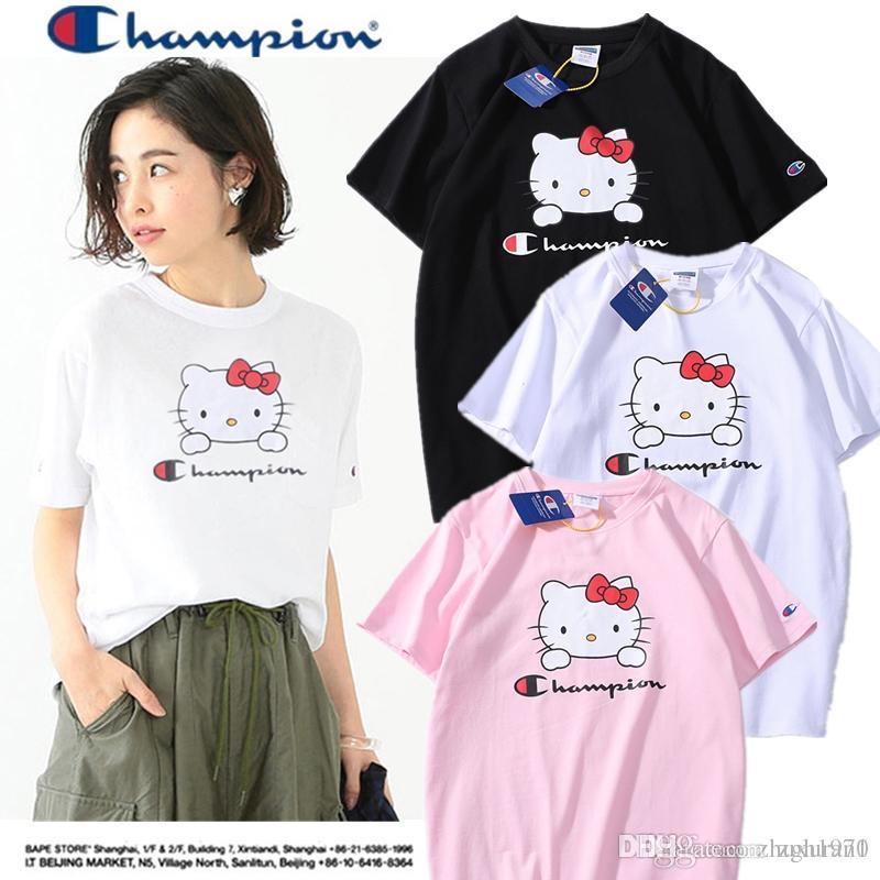 95c5f478 C559 black and white powder cute cat print short-sleeved t-shirt student  class casual wear fashion women M-XXL