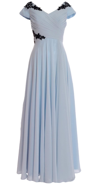 18ea107c12 MACloth Women V Neck Cap Sleeves Pleated Lace Chiffon Formal Evening ...