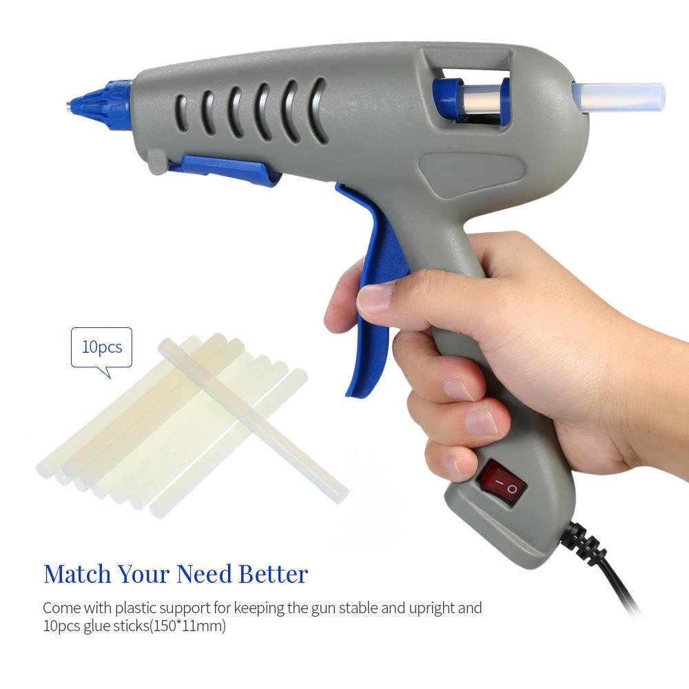 Pistola de pegamento de fusión en caliente Mini Profesional Industrial Pegamento fundido caliente 100 W Herramienta de reparación de arte de bricolaje DIY con 10 unids Pegamento Sticks