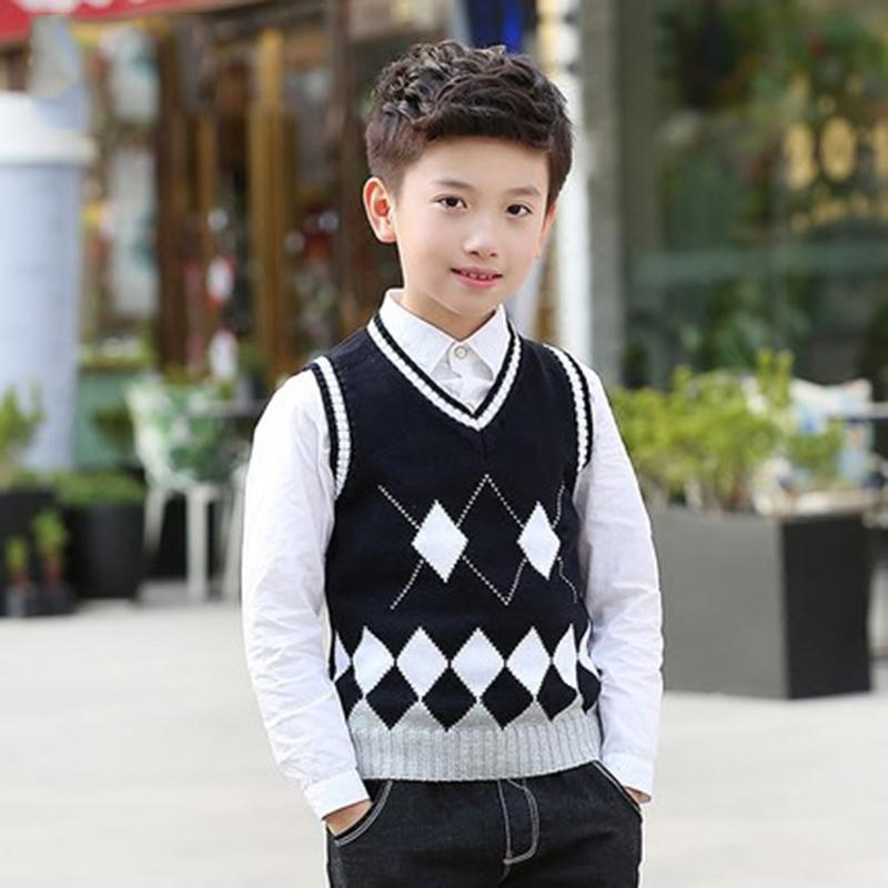 3d441fca5 Teenage Boys Girls School Style Vest Autumn Winter Cotton Warm Kids ...