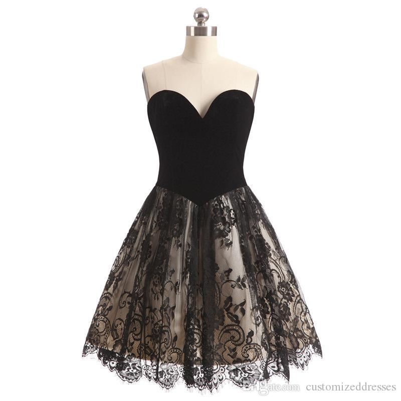 Little Black Dress A Line Sweetheart Lace Short Prom Dresses