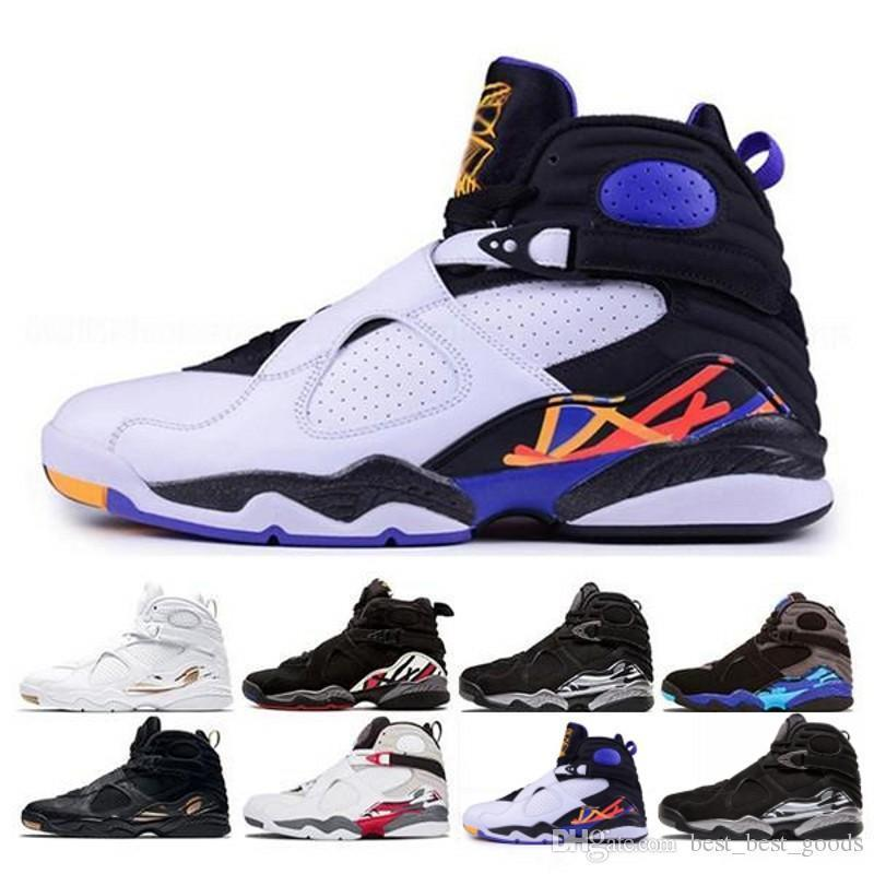2019 New 8 Alternate Bugs Bunny 8s Black Chrome Playoff Countdown Pack Hombres Zapatillas de baloncesto Aqua Viii Three Peat Athletic Sneakers Shoes