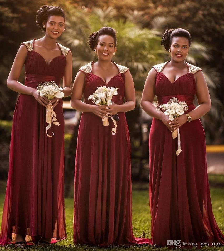 0c7c89cb68 2019 New Cheap A-Line Bridesmaid Dresses Burgundy Chiffon Sweetheart Cap  Sleeves Floor Length Plus Size Wedding Guest Maid of Honor Gowns