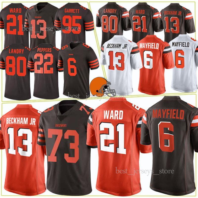 lowest price d1dbd 295db Cleveland jerseys Brown 6 Baker Mayfield 21 Denzel Ward 95 Myles Garrett 80  Jarvis Landry new Jersey 2019 Top MEN
