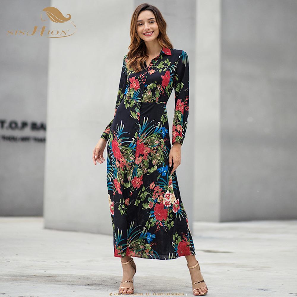 9de0e18c8a47c9 vente en gros 2019 été longue robe à fleurs Boho Bohemian Beach Dress  Floral C3075 noir blanc tunique femmes soirée soirée Maxi Dress