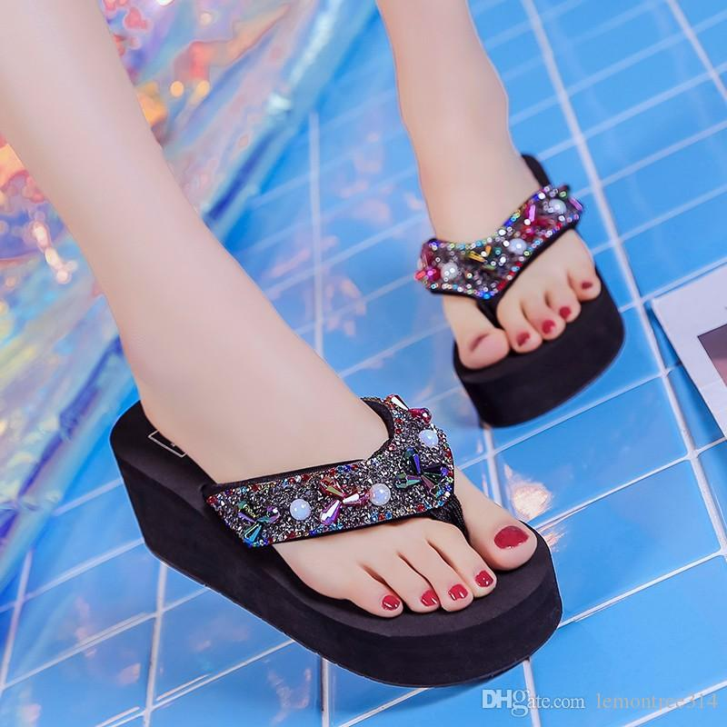 76c63ee5901d36 Womens Colorful Rhinestone Flip Flops Beach Slippers Crystal Platform  Slipper Sandal Lady Casual Shoes Beading Flip Flop Girls Boots Wedges Shoes  From ...