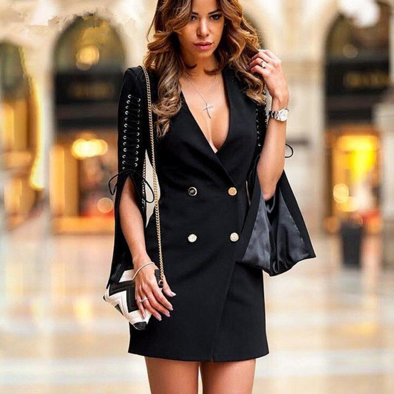 9a6f01cc9676 2019 Lace Up Slit Sleeve Blazer Dress Women Double Breasted Elegant Dress  Autumn Sexy V Neck Black Party Dresses Office Lady Vestido From Zhaolinshe,  ...