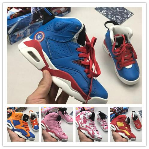 the best attitude 7dc8e c221f 2019 Designer Kids Classic 6s UNC Chicago White Blue Infrared Spiderman  Iron Children Boy Girls Basketball Sports Shoes 6 Toddler Sneakers
