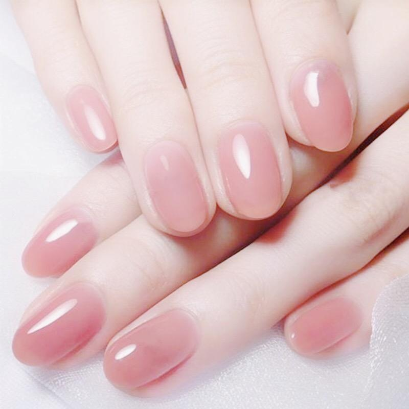 Clear Pink Color False Nails Jelly Pink Nails Short Round Head Full