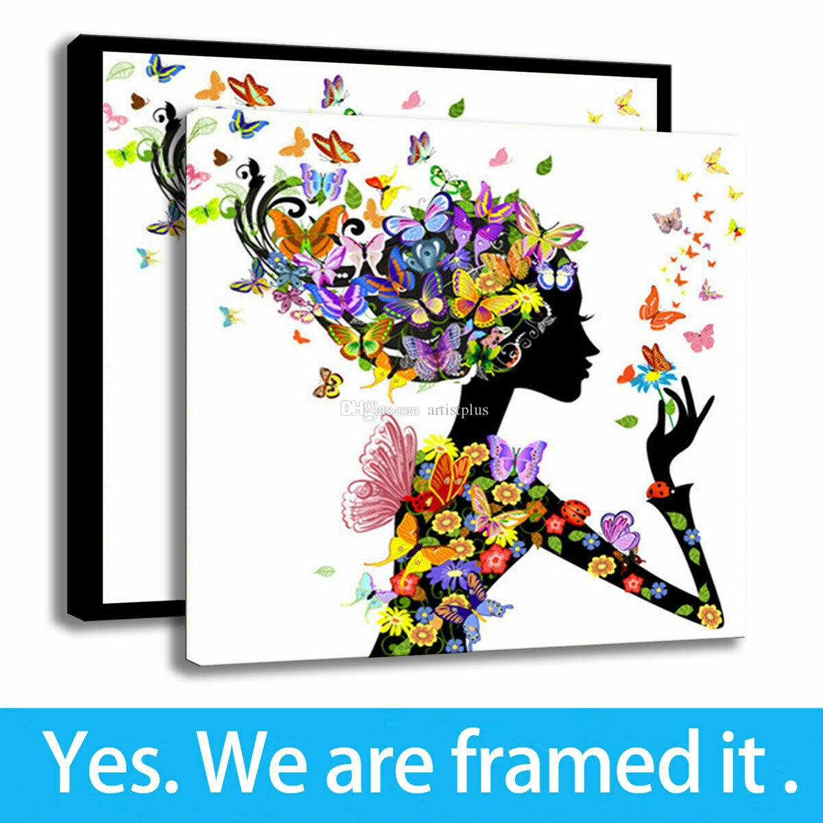 Canvas HD Print Home Deco Painting Creative Colorful Woman Butterfly Art Framed Art - Ready To Hang - Support Customization