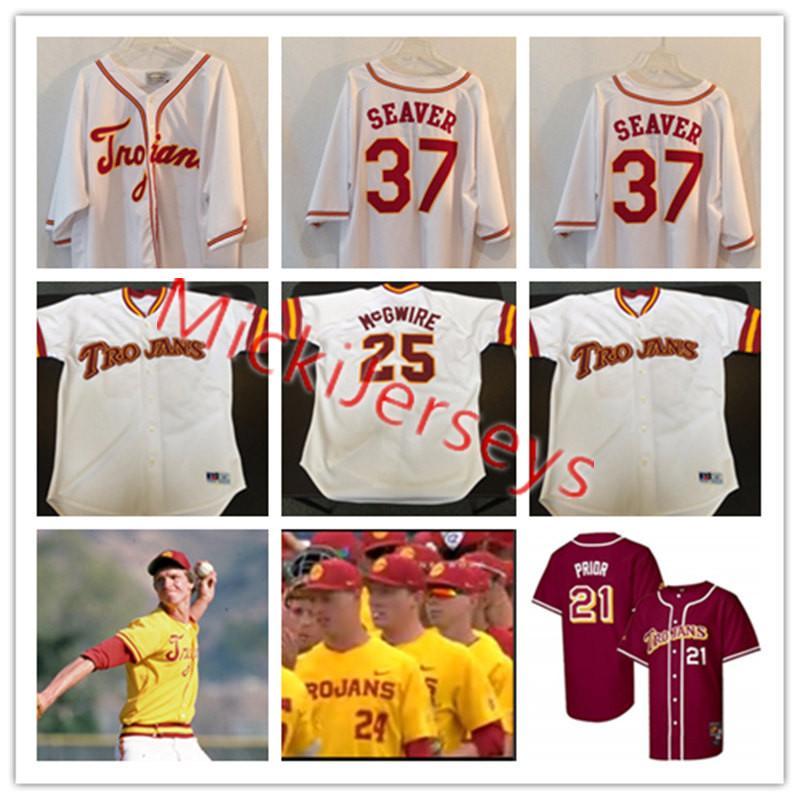 the latest 3c39b 952ba Mens #25 McGwire Mark USC Trojans Baseball Jerseys #21 MARK PRIOR #37 Tom  Seaver #11#51 Randy Johnson USC Trojans Jersey S-3XL