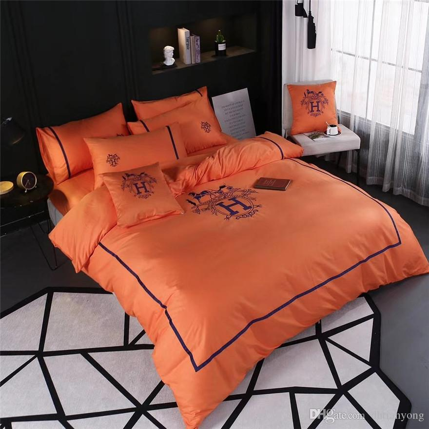 Classics Orange Letter Bedding Suit 4PCS Navy Queen King Size All Cotton American Style Duvet Cover Set For Men And Women
