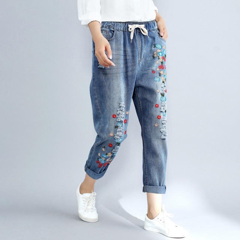 add5e6d7e0 2019 Plus Size 3xl Floral Embroidery Boyfriend Ripped For Women ...