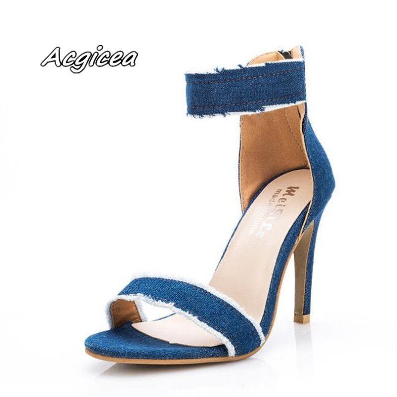 Designer Kleid Schuhe 2019 neue Denim Sandalen hochhackige Wort mit Mode lässig Super High Peep Toe Reißverschluss hinten Mujer Pumps Sandalen s111