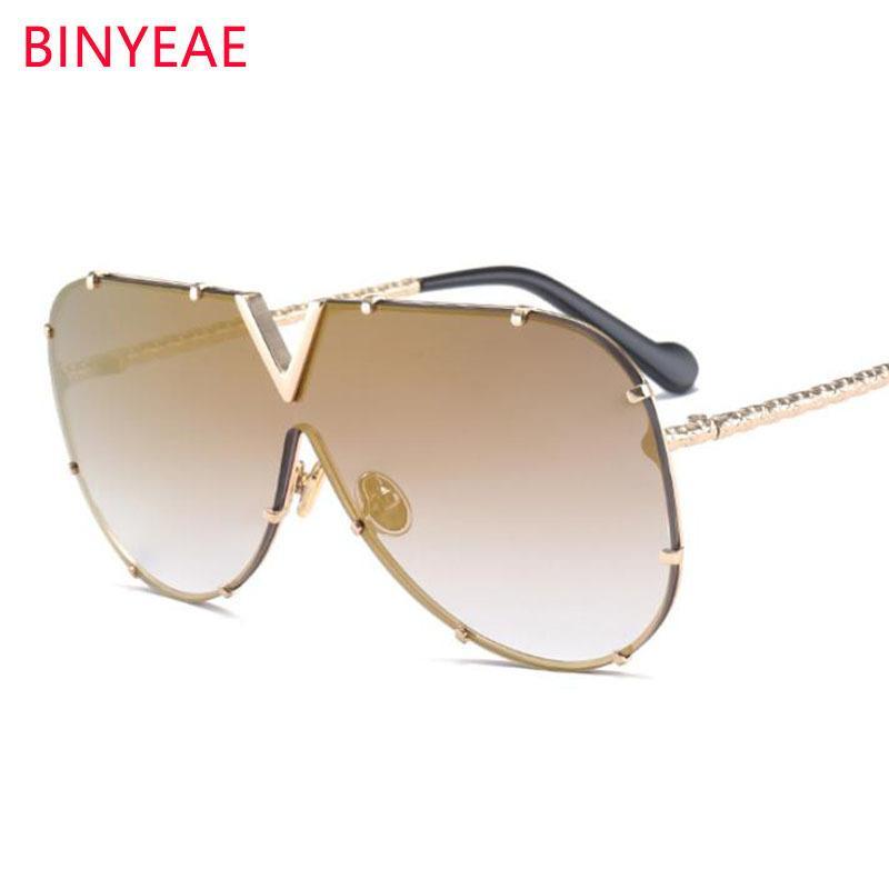 786c93e2a8 Luxury Metal Fashion Women Big Frame Golden Mirror Coating Sun Glasses Men  Oversized Rivet Sunglasses Female Driving C19041201 Fastrack Sunglasses  Smith ...