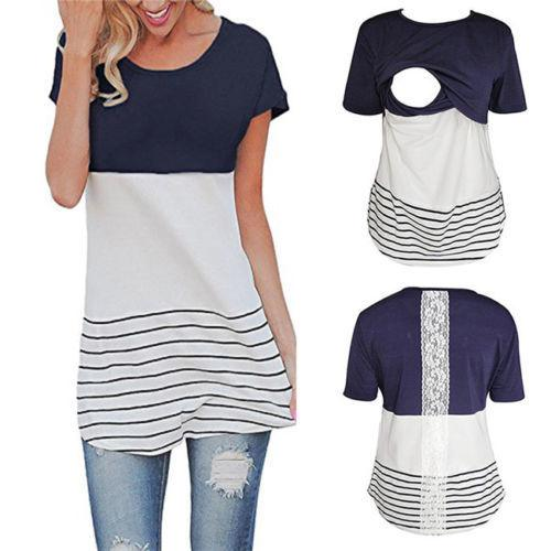 4a8c9ba1f1ad9 Maternity Clothes Breastfeeding T Shirt Nursing Lace Tops For Pregnant  Women Tee Short Sleeve Tops Casual Trendy Mens T Shirts T Shirt Best From  Illusory08, ...
