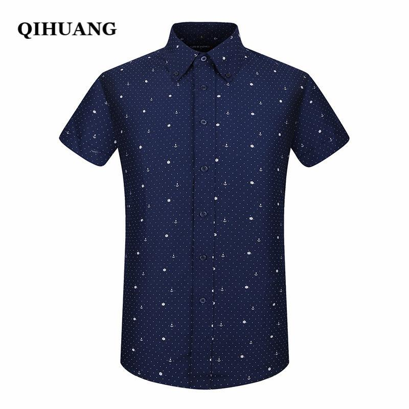 Qihuang 2018 Summer Men Short Sleeve Shirt Fashion Slim Sailor Element Print Dress Shirt Plus Size Male Social Shirt Y190506
