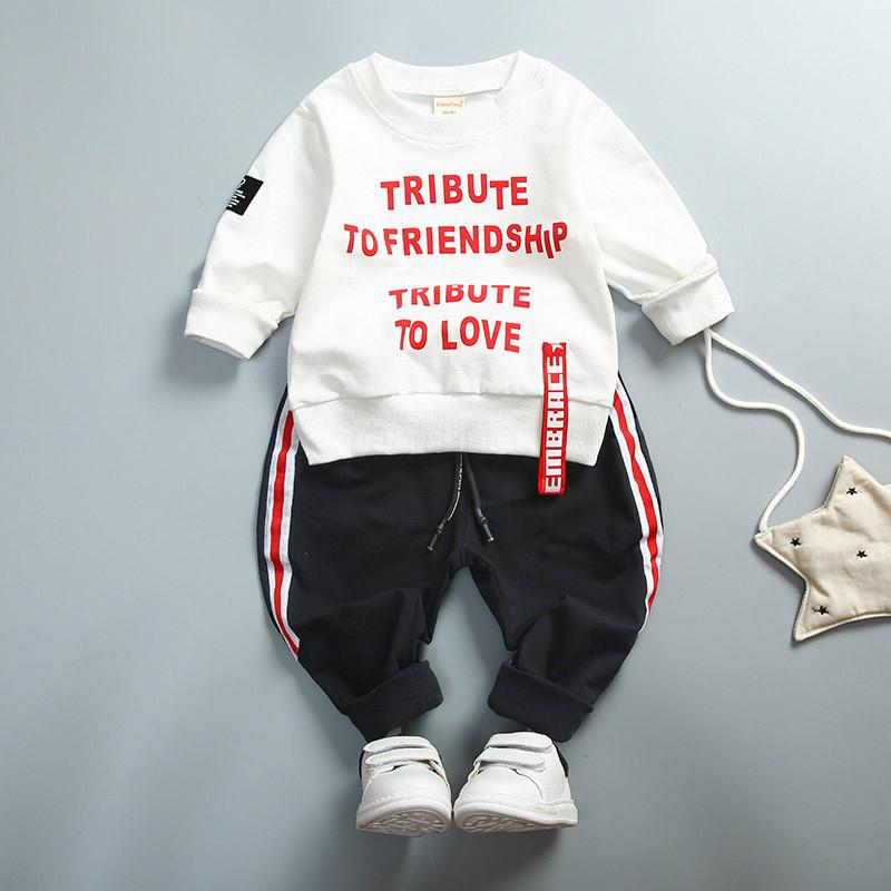 0-4 ages 100% cotton 2019 spring autumn casual active letter children clothing kid suit T-shirt+pant baby girl boy clothing set