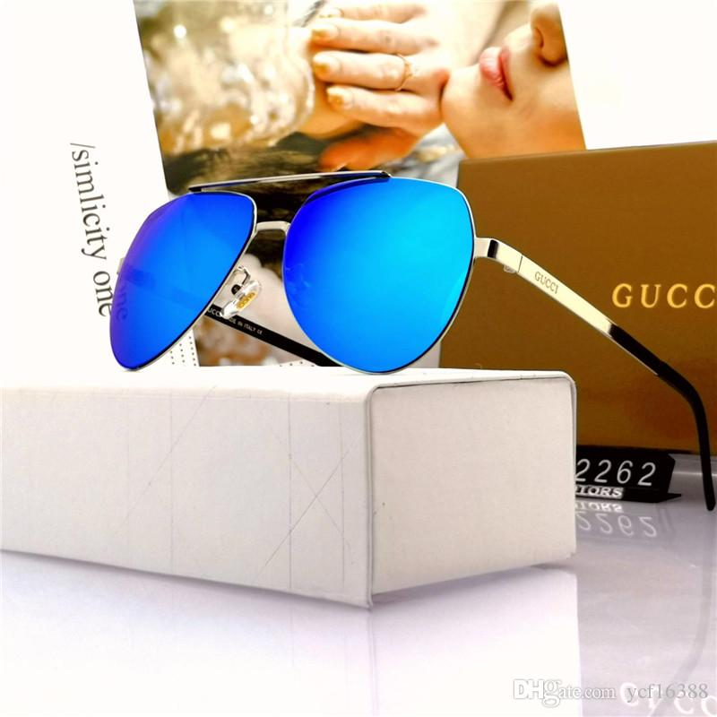 Best quality glass lens sun glasses Designer Fashion Gold Frame Blue Mirror Sunglasses For Men and Women UV400 Sport Sun glasses With box